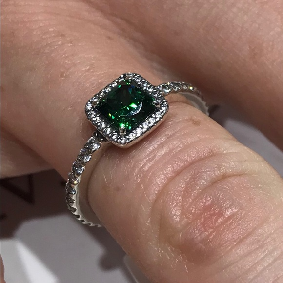 3bccde838 Pandora Jewelry | Timeless Elegance Green Clear Cz Ring 7 | Poshmark